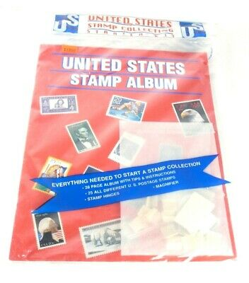 Stamp Collection Album New United States Kit  Magnifier,Hinges,25 Dif. HE Harris