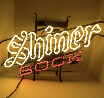 Neon Signs Gift Shiner Bock Beer Bar Pub Store Party Room Wall Decor 24X20