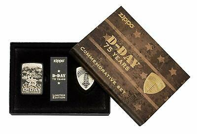 Zippo 29930, 75th Anniversary D-Day Lighter Set, Limited Edition, Black Crackle