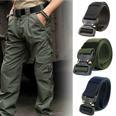 Adjustable Men's Tactical Military Belt Buckle Combat Army Waistband Rescue