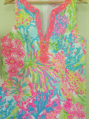 b9093b3bb0c5a2 LILLY PULITZER RYDER Shift Dress Multi Lovers Coral Size 14 28054 ...