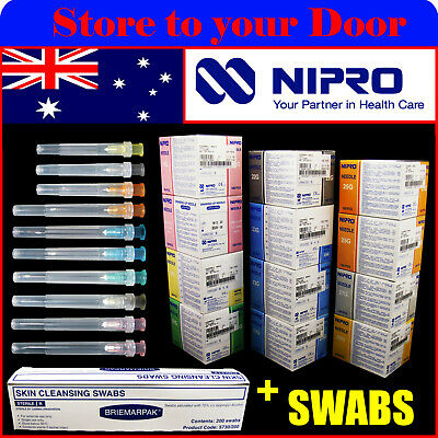 Hypodermic Needles + Alcohol Swabs 18,19,21,22,23,25,27,30G Guage Syringe Tips