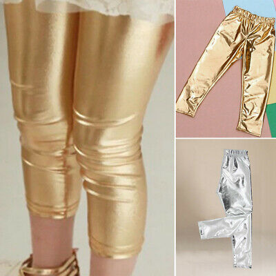 Child Girls Kids Shiny PU Leather Long Pants Dance Disco Bottoms Trouser Wedding