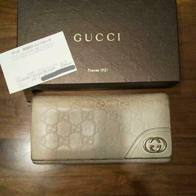 eb1207894764 Gucci Wallet GUCCISSIMA Bifold Long Ivory Authentic carved seal Gold Logo  Box
