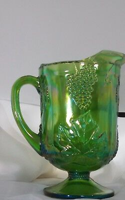 Vtg. Indiana Iridescent Green Carnival Glass Harvest Grape Pitcher 64 oz.