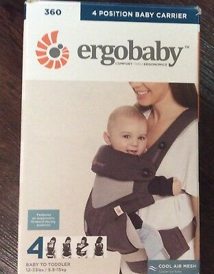 ERGOBABY 4 POSITION 360 BABY CARRIER MOONSTONE RC 9149 12-33 LBS