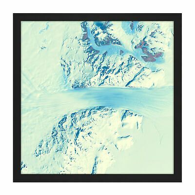 Abstract Snow Mountains Square Framed Wall Art 16X16 In