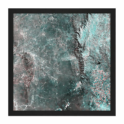 Green Pink Rocks Abstract Square Framed Wall Art 16X16 In