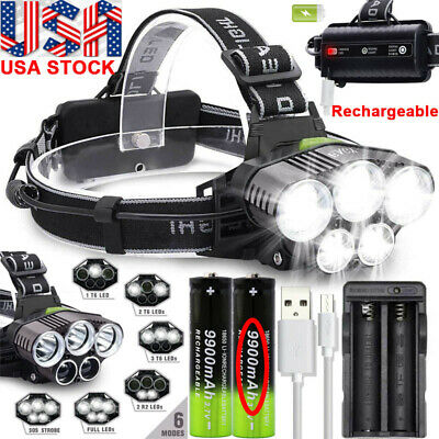 250000LM T6 LED Headlamp Rechargeable Head Light Flashlight Torch Lamp 18650 USA