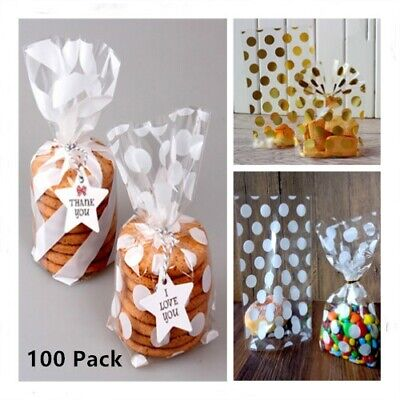 100 Pack Clear Cellophane Bags Cello Display Pouch Cake Candy Lollipops Party UK