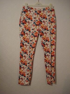 Oasis pale pink & red/blue/orange floral/bird skinny capri trousers 8