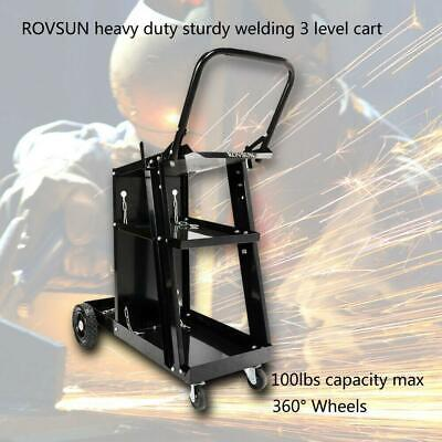 ROVSUN RWC-006 Heavy Duty Sturdy Hand-Push Style Welding Cart 3 Level Black US