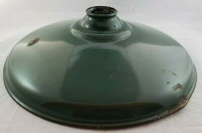 "Vintage 14"" Green Porcelain Enamel Industrial Light Shade"