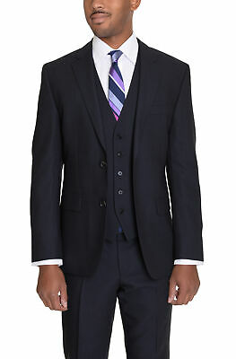 233e4b10 Hugo Boss The Grand/central2 Navy Blue Textured Two Button Three Piece Wool  Suit