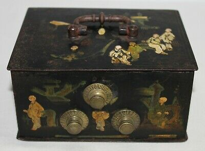 Antique Chinese Strongbox Jeweler Lacquered Hand Painted Iron 19Th C.