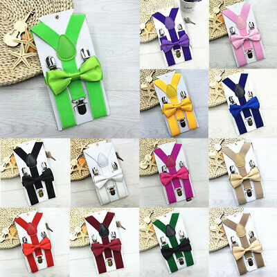 Adjustable Kids Boy Girl Clip-On Y-Back Suspenders Bowtie Matching Ties Outfit