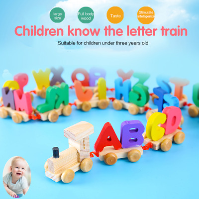 Alphabet Wooden Colourful Train Letters Toys Early Education Games Kids Gifts UK