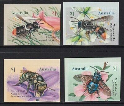 AUSTRALIA 2019 - NATIVE BEES Insects  set of 4 x $1 P&S MNH - Self Adhesive