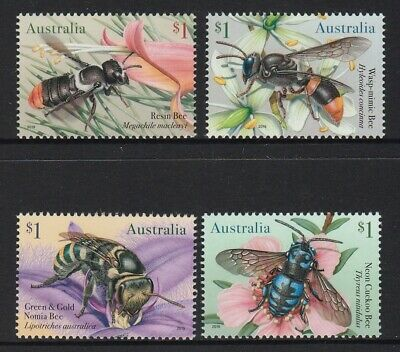 AUSTRALIA 2019 - NATIVE BEES Insects Design  set of 4 x $1 MNH - Wildlife nature