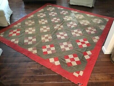 """EARLY ANTIQUE PRIMITIVE HAND MADE CUTTER QUILT 89"""" x 86"""""""