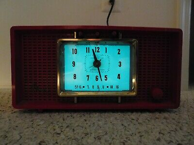 VINTAGE MID CENTURY EAMES ERA ANTIQUE OLD Panelescent BACKLIGHT CLOCK TUBE RADIO