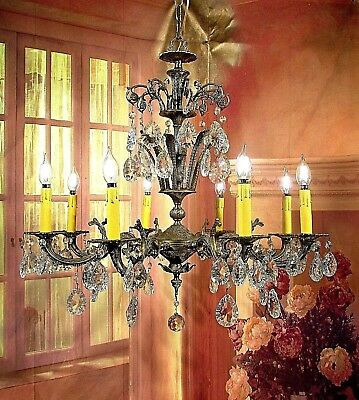 Antique Vintage Chandelier Bronze Grand 8 Light Crystal Unique French Elegant