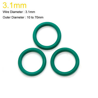 10~70mm OD x 3.1mm Wire Dia. FKM Fluorine Rubber O-Ring Oil Sealing Ring Green
