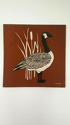 Large Canadian Goose Cattail Marushka Textile Silk Screen Fabric Art Print