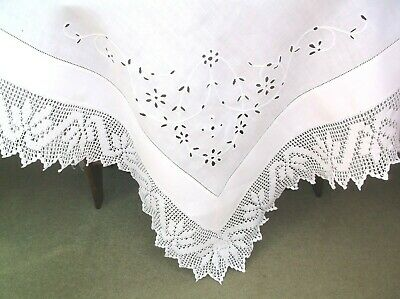 Vintage Linen Embroidered Cut Work Crochet Edge Table Cloth