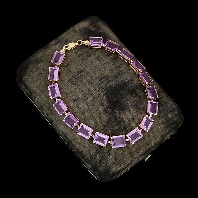Antique Vintage Art Deco Retro Style 10k Rose Gold Amethyst Riviere Bracelet