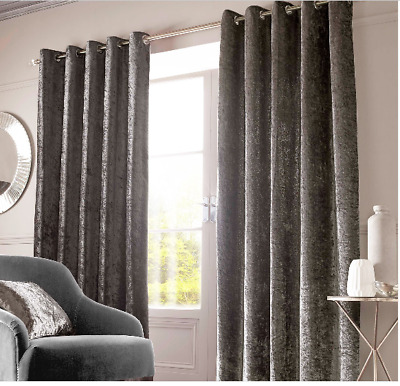 Sienna Home Crushed Velvet Eyelet Curtains - Charcoal Grey