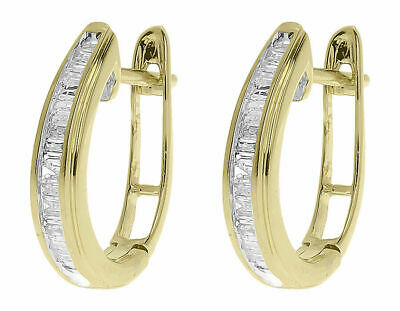 6e2d5a6a4 10k Yellow Gold Finish Ladies Baguette Diamond Oval Hoop Huggie Earrings  0.25ct