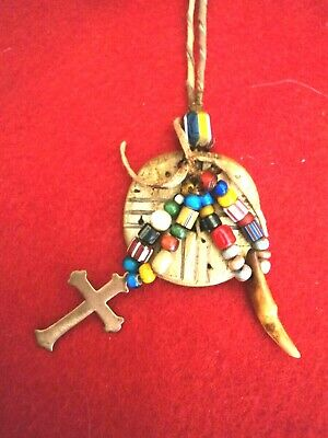 Vintage Shell Medicine Wheel Trade Necklace w/ Trade Beads