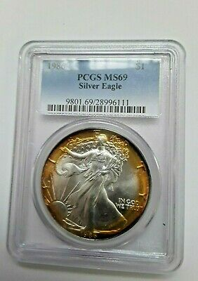 Silver American Eagle 1986 1 oz Coin PCGS MS69