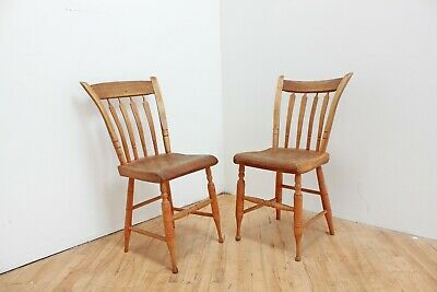 1850s Primitive American Antique Farm Chairs Pair Mule Ear Plank Bottom Windsor