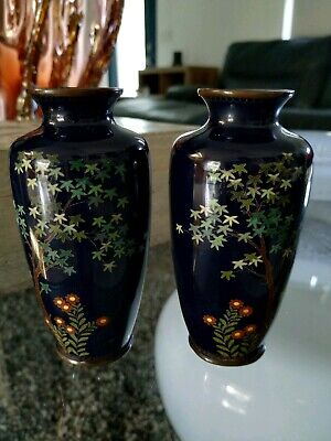 Two Japanese Cloisonne Vases 5""
