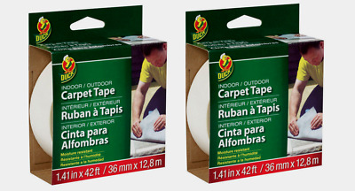 """2~Duck White CARPET TAPE In/Outdoor Moisture Resistant 1.41"""" W x 42 ft. L 286373"""