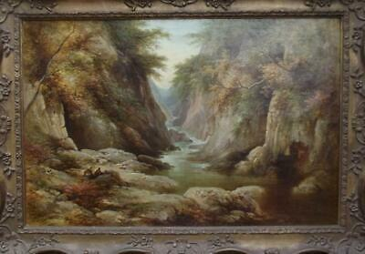 Large GEORGE GOODMAN Antique 19th Century BRITISH ROMANTIC HIGHLAND LANDSCAPE