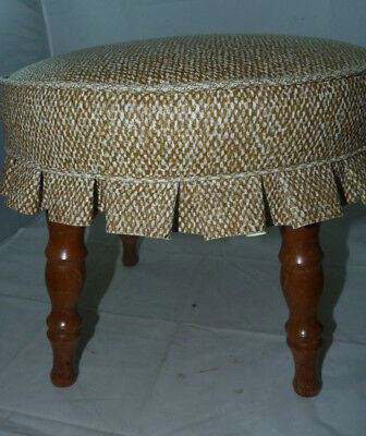 Vintage Vinyl Four Leg Foot Stool Retro Round Ottoman Beige Brown Footstool