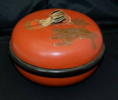 RARE Vintage Wood Japanese Foo Dog Red Lacquer Lidded Bowl Dish