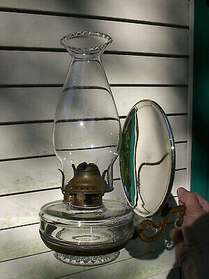 OLD 1890 ANTIQUE CAST IRON WALL BRACKET OIL LAMP w/REFLECTOR & PETAL TOP CHIMNEY