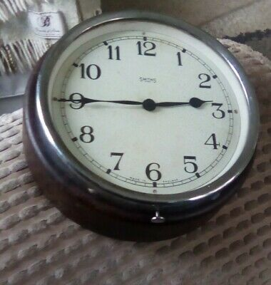 Antique Bakelite Smiths 8 Day Brown Wall Clock Industrial Factory Office Spares