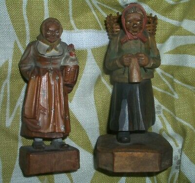 """Two German vintage carved figures of women, 5"""" and 5 1/2"""" high"""