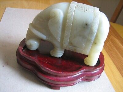 Vintage Fine Chinese Hand Carved Jade Elephant Figurine on Wood Stand. (RARE)