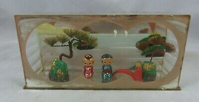 Vintage Japanese Wooden Kokeshi Doll Couple Diorama - Hand Painted - Japan