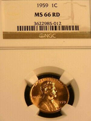 1959 P Lincoln Cent NGC MS66RD Bright Red Superb Luster, PQ #G114