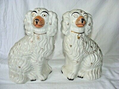 Antique Pair Staffordshire Wally Dogs Pottery Cavalier King Charles Spaniel ""