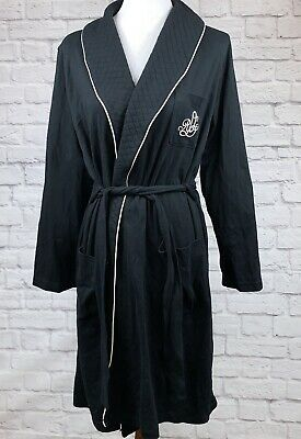 Lauren Ralph Lauren L Womens Robe Quilted Shawl Collar Black LRL Monogram Tie