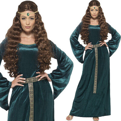 Green Medieval Maid Costume Ladies Fancy Dress