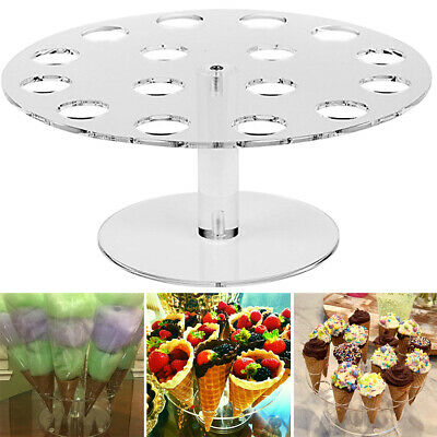 16 Holes Acrylic Double Ice Cream Cone Holder Tray Display Stand Rack Wedding AU